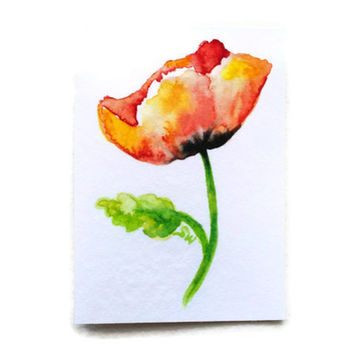 Poppy Watercolor ACEO