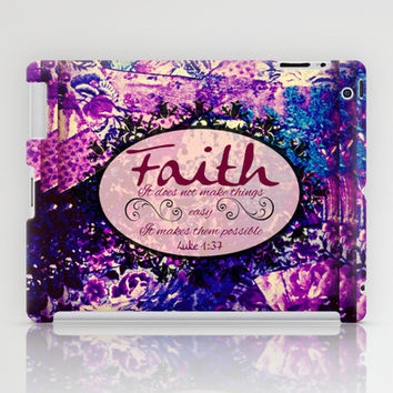 FAITH Colorful Purple Christian Luke Bible Verse Inspiration Believe Floral Modern Typography Art iPad Case by The Faithful Canvas