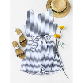 Copy of Convertible Vertical Striped Bow Tie Crop Top With Shorts