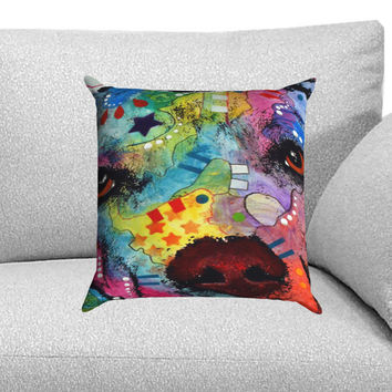 Pitbull Love Painting Custom Pillow Case for One Side and Two Side