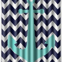 "60"" x 72"" Anchor Waterproof Fabric Bathroom Shower Curtain"
