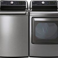 LG LGWADRGV1 Side-by-Side Washer & Dryer Set with Top Load Washer and Gas Dryer in Graphite Steel