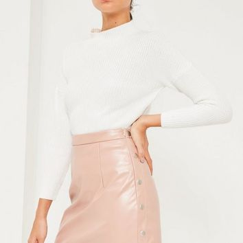 Missguided - Pink Popper Side A Line Faux Leather Mini Skirt