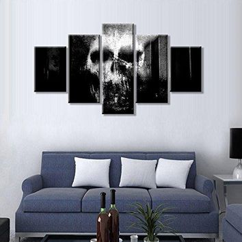 Skull Canvas Wall Art Abstract Black and White Print Home Decor 5 Panel Large