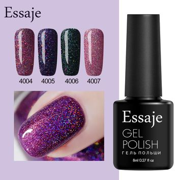 Essaje Glitter Neon Nail Gel for Full Set Gel Manicure Colorful Lacquer Shiny Co