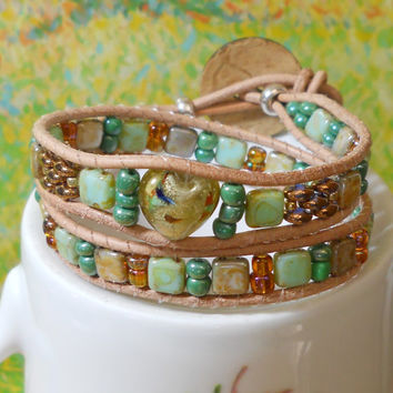Green and tan leather Wrap Bracelet green Jewelry handmade green wrap Tan leather double wrap green gold beads inspired by Sanibel Island FL